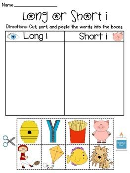 Long and Short Vowel Discrimination Sort Worksheets MEGA Pack