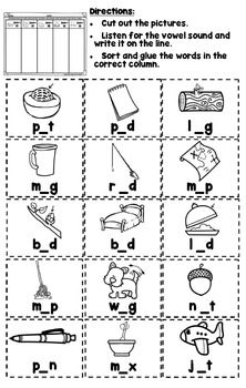 Long and Short Vowel Sorts: Print & Go Long and Short Vowel Word Sorts