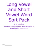 Long and Short Vowel Sorts with Magic E and Vowel Pairs