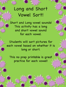 Long and Short Vowel Sound Sort
