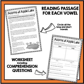 Long and Short Vowel Sounds - A, E, I, O, U Reading Passages and Comprehension