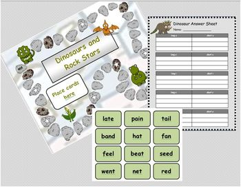 """Long and Short Vowel Sounds : """"Dinosaurs and Rock Stars"""" (New and Improved!)"""