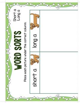 Long and Short Vowel Sounds - File Folder Word Sort Bundle