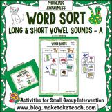 """Long and Short Vowel Sounds - Vowel """"a"""" File Folder Word Sort"""