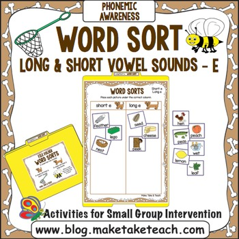 "Long and Short Vowel Sounds - Vowel ""e"" File Folder Word Sort"