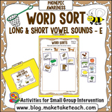 """Long and Short Vowel Sounds - Vowel """"e"""" File Folder Word Sort"""