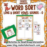 """Long and Short Vowel Sounds - Vowel """"o"""" File Folder Word Sort"""