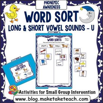 """Long and Short Vowel Sounds - Vowel """"u"""" File Folder Word Sort"""