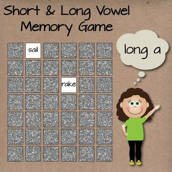 Long and Short Vowel Sounds Matching Memory Games 1 & 2 Bundle!