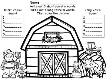 Long and Short Vowel U Activity and Worksheets