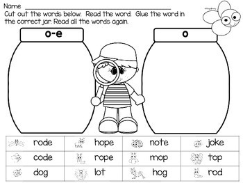 End of the year review Long and Short Vowel Word Centers