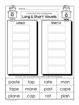 Long and Short Vowel Word Sort (a with silent e)