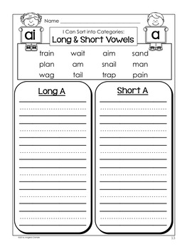 Long and Short Vowel Word Sort (ai)