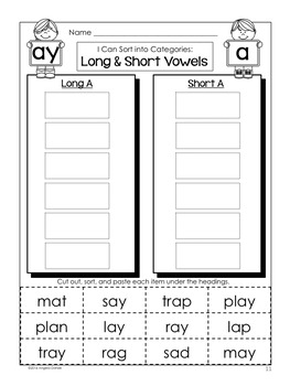 Long and Short Vowel Word Sort (ay)