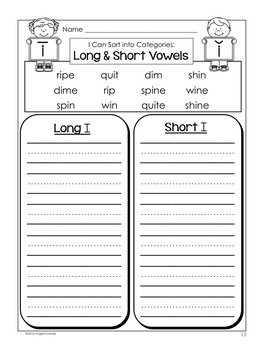 Long and Short Vowel Word Sort (i with silent e)