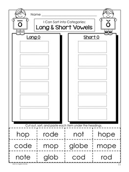 Long and Short Vowel Word Sort (o with silent e)