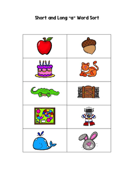 Long and Short Vowel Word Sorts with Pictures