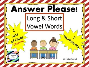 Long and Short Vowel Words:  Task Cards and More