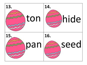 Long and Short Vowel Words--activity, worksheets, task cards--Easter Theme