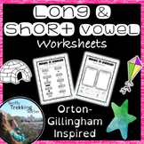 Long and Short Vowel Worksheets - Answers included - Orton