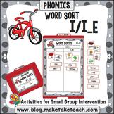 Long and Short Vowel i - i/i_e File Folder Word Sort