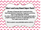 Long and Short Vowel super pack, printable centers activity! Reading and writing