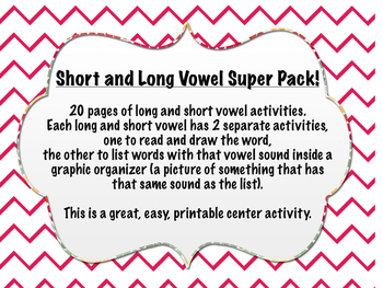 Long and Short Vowel super pack, printable centers activit