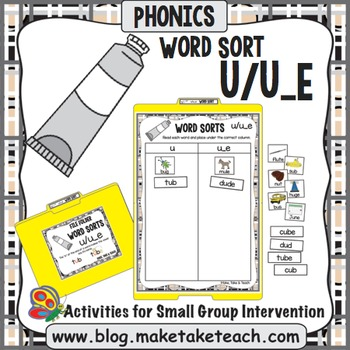 Long and Short Vowel u - u/u_e File Folder Word Sort