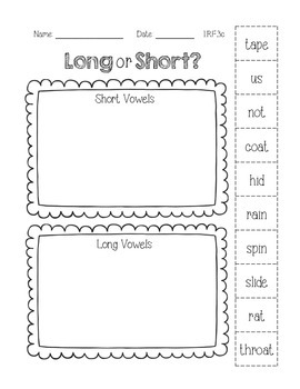 Long and Short Vowels 1.RF.3c