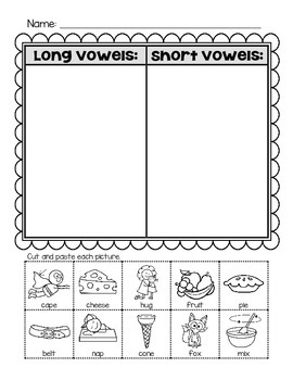 Long and Short Vowels - Sort
