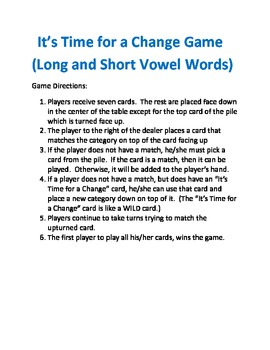 Long and Short Vowels It's Time for a Change Card Game