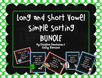 Long and Short Vowels Simple Sorting Activity Bundle