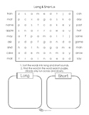 Long and Short Vowels Word Search Puzzles