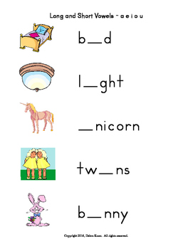 Long and Short Vowels for Kindergarten and Homeschool