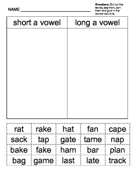 Long and Short /a/ Vowel - cut and paste