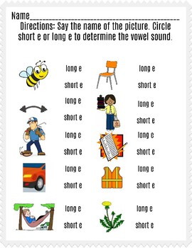Long and Short e Worksheet II