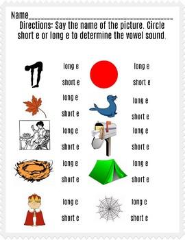Long and Short e Worksheet IV