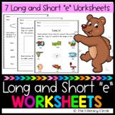 Long and Short e Worksheets/ Vowel Worksheets/ Short and Long e Worksheets