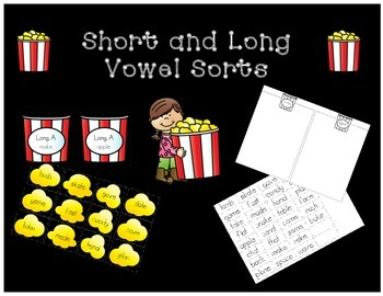 Long and Short Vowel Sorts for centers and RTI
