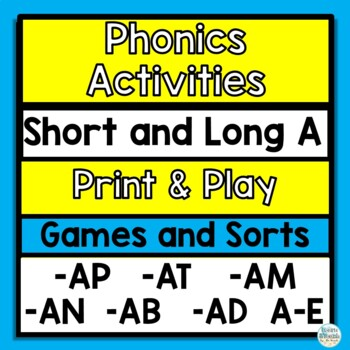 Short and long A vowel game with silent e