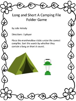 Long and short a File Folder Game