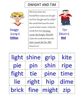 Long and short i (ie, i_e, igh) word sort
