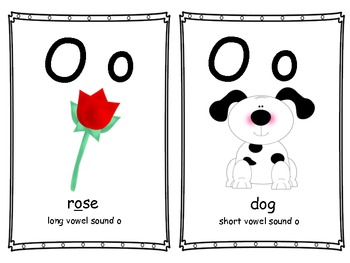 Long and short vowel sound cards.