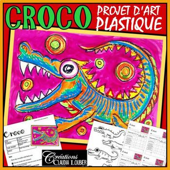 Arts plastiques: Long croco, pastel à l'huile, plan de cours en Français