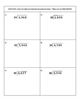 Long division practice pages WITH the houses, work space & answer keys