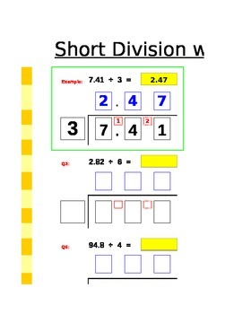 Long division using the bus stop method