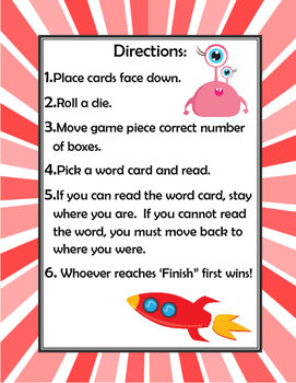 Long 'e' Game and Word Cards