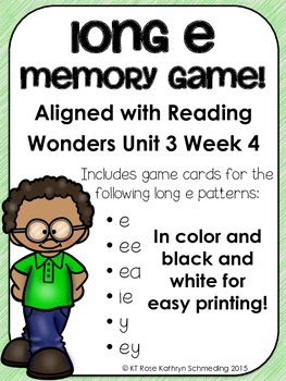 Long e Memory Game---Aligned with Reading Wonders Unit 3 Week 4
