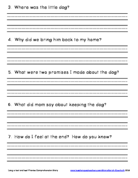 Long e Phonics Comprehension Story