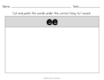 Word Work: Digraphs - Long E - EA, EE